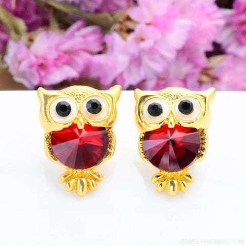 Image of Crystal Owl Stud Earrings - 07 - Custom Made | Free Shipping