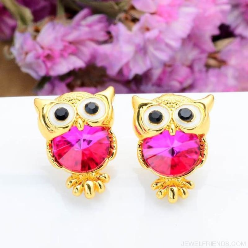 Crystal Owl Stud Earrings - 08 - Custom Made | Free Shipping