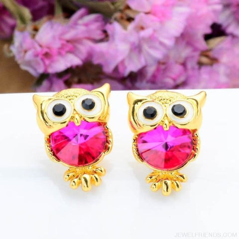 Image of Crystal Owl Stud Earrings - 08 - Custom Made | Free Shipping