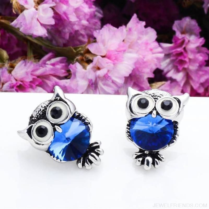 Crystal Owl Stud Earrings - 09 - Custom Made | Free Shipping