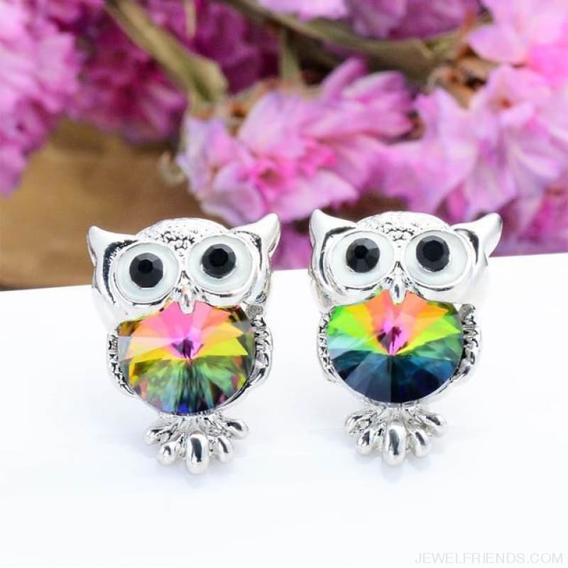 Crystal Owl Stud Earrings - 11 - Custom Made | Free Shipping