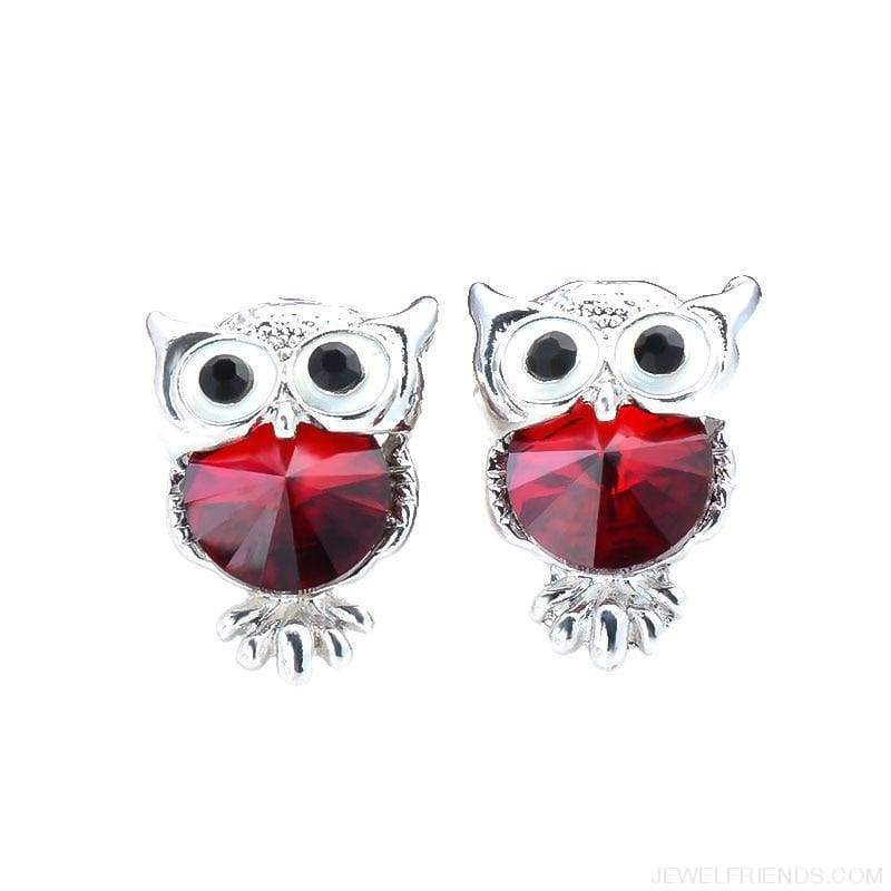 Crystal Owl Stud Earrings - Custom Made | Free Shipping