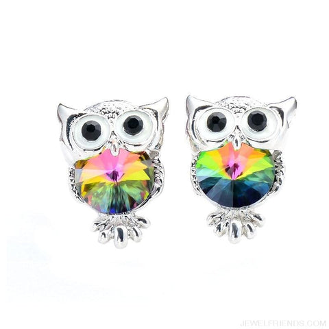 Image of Crystal Owl Stud Earrings - Custom Made | Free Shipping