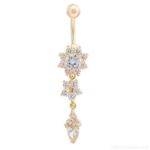 Image of Crystal Rhinestone Flower Belly Button Ring - A - Custom Made | Free Shipping