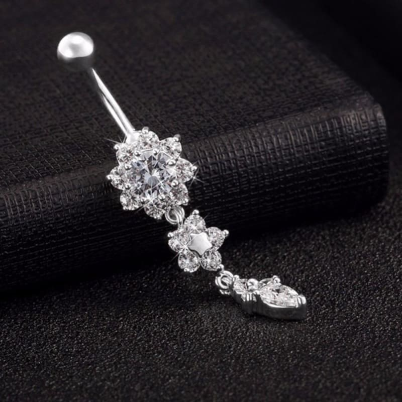 RHINESTONE BLING CRYSTAL DANGLE FLOWER NAVEL BELLY BUTTON RING BODY JEWELRY 316L