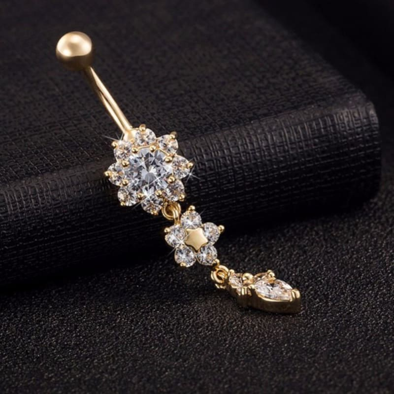 Crystal Rhinestone Flower Belly Button Ring - Custom Made | Free Shipping
