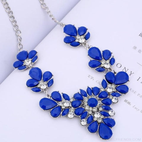Crystal Statement Flower Necklace - Blue - Custom Made | Free Shipping