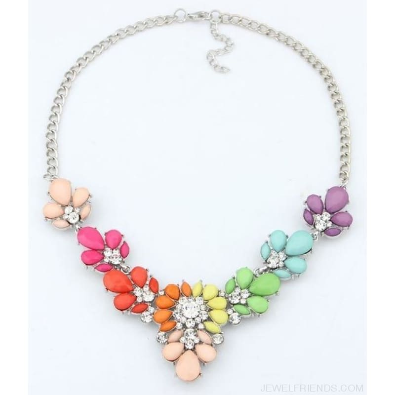 Crystal Statement Flower Necklace - Colorful - Custom Made | Free Shipping