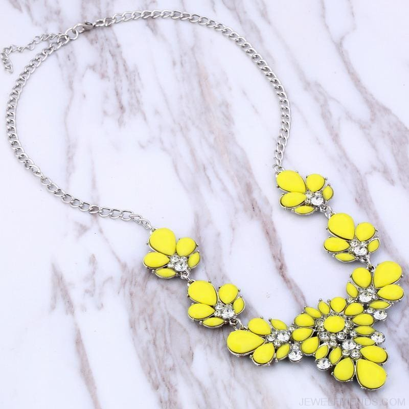 Crystal Statement Flower Necklace - Custom Made | Free Shipping