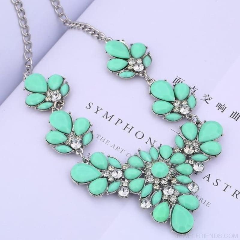 Crystal Statement Flower Necklace - Light Green - Custom Made | Free Shipping