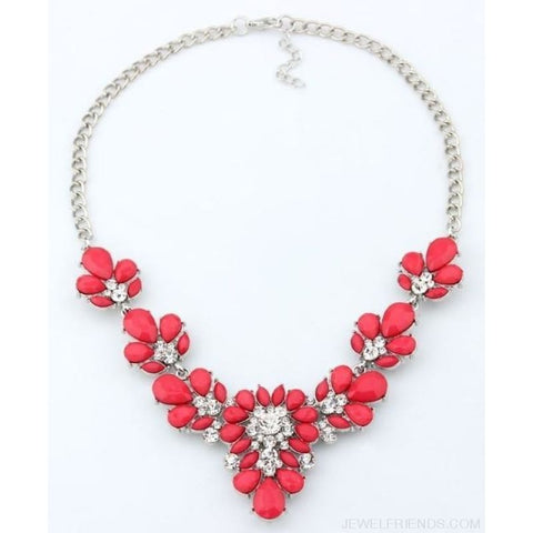 Crystal Statement Flower Necklace - Red - Custom Made | Free Shipping