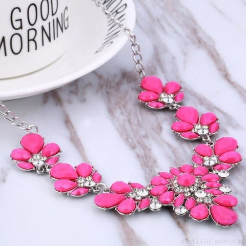 Crystal Statement Flower Necklace - Rose - Custom Made | Free Shipping