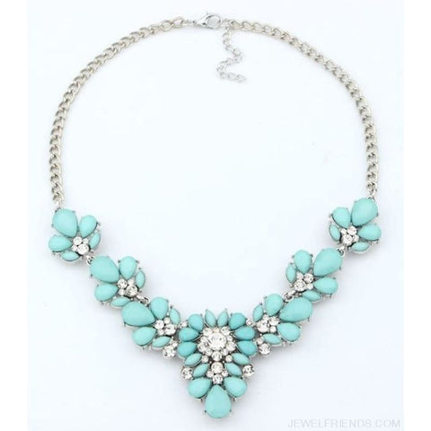 Crystal Statement Flower Necklace - Sky Blue - Custom Made | Free Shipping