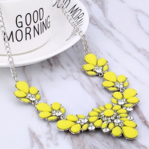 Crystal Statement Flower Necklace - Yellow - Custom Made | Free Shipping