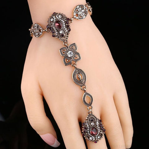 Image of Crystal Vintage Jewelry Bracelet Link Ring - Custom Made | Free Shipping