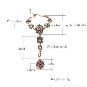 Crystal Vintage Jewelry Bracelet link Ring