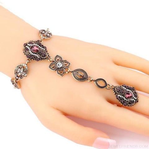 Crystal Vintage Jewelry Bracelet Link Ring - Custom Made | Free Shipping