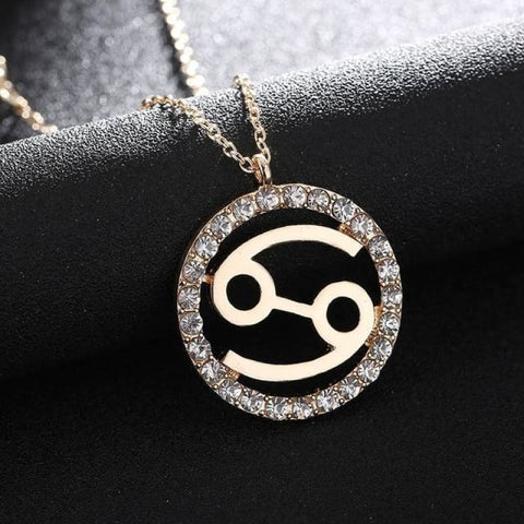 Image of Crystal Zodiac Sign Necklace - Cancer - Custom Made | Free Shipping