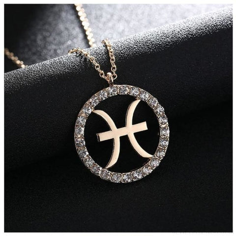 Image of Crystal Zodiac Sign Necklace - Pisces - Custom Made | Free Shipping