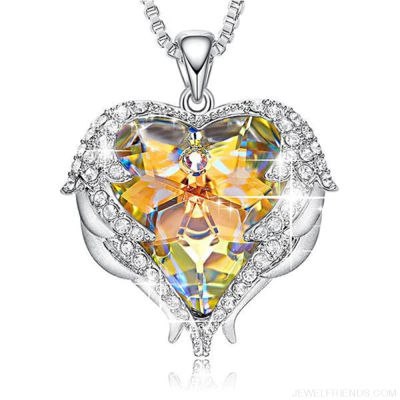 Crystals Blue Rhinestone Luxury Heart Necklace - Ab Color - Custom Made | Free Shipping
