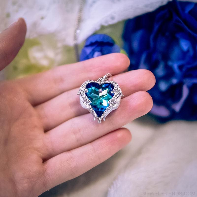 Crystals Blue Rhinestone Luxury Heart Necklace - Custom Made | Free Shipping