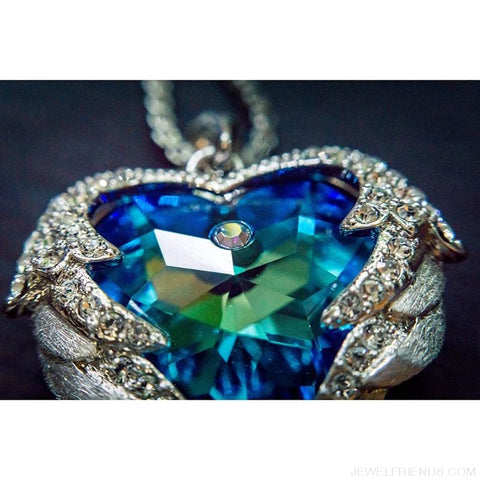 Image of Crystals Blue Rhinestone Luxury Heart Necklace - Custom Made | Free Shipping