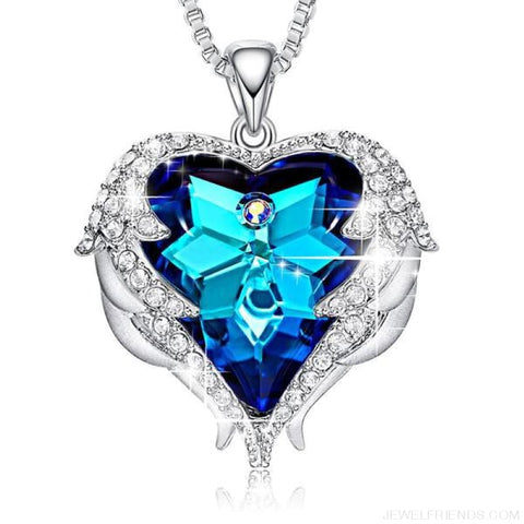 Crystals Blue Rhinestone Luxury Heart Necklace - Blue Light - Custom Made | Free Shipping