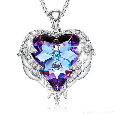 Crystals Blue Rhinestone Luxury Heart Necklace - Purple Light - Custom Made | Free Shipping