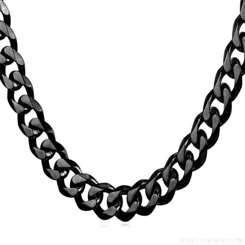 Image of Cuban Link Chain Gold/black/steel Stainless Steel Necklace - Black Gun Plated / 12Mm Width / 71Cm 28Inches - Custom Made | Free Shipping