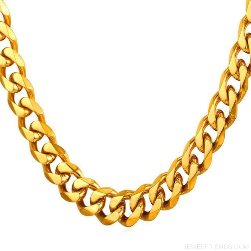 Cuban Link Chain Gold/black/steel Stainless Steel Necklace - Gold-Color / 12Mm Width / 71Cm 28Inches - Custom Made | Free Shipping