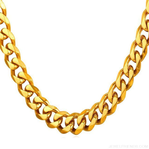 Image of Cuban Link Chain Gold/black/steel Stainless Steel Necklace - Gold-Color / 12Mm Width / 71Cm 28Inches - Custom Made | Free Shipping