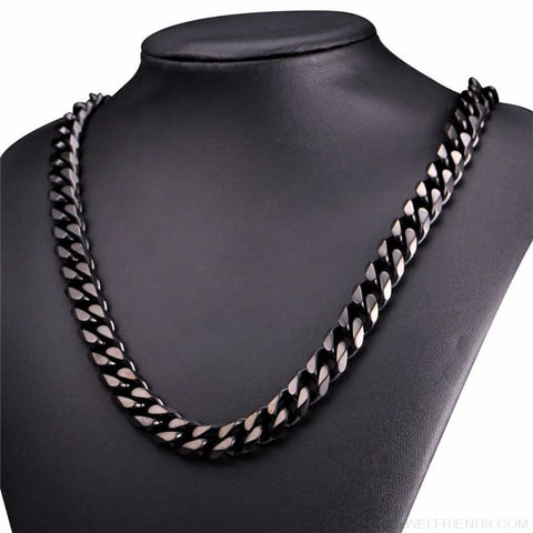 Image of Cuban Link Chain Gold/black/steel Stainless Steel Necklace - Custom Made | Free Shipping