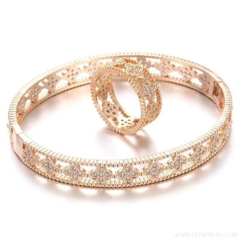 Cubic Zircon Clover Pattern Bracelet & Ring Set - Gold / 17 - Custom Made | Free Shipping