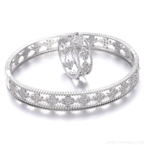 Image of Cubic Zircon Clover Pattern Bracelet & Ring Set - Platinum / 17 - Custom Made | Free Shipping