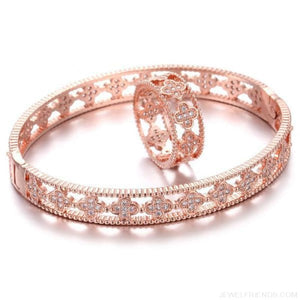 Cubic Zircon Clover Pattern Bracelet & Ring Set - Rose Gold / 17 - Custom Made | Free Shipping