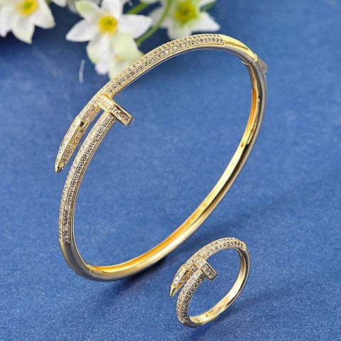 Cubic Zircon Nail Bracelet & Ring Set - Gold White 19 - Custom Made | Free Shipping