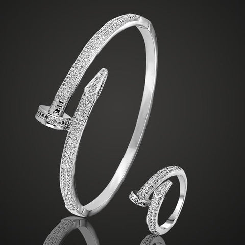Cubic Zircon Nail Bracelet & Ring Set - Custom Made | Free Shipping