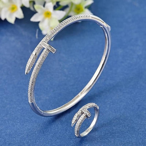 Cubic Zircon Nail Bracelet & Ring Set - Rhodium White 17 - Custom Made | Free Shipping