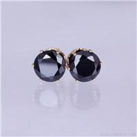 Cubic Zirconia 8Mm Stud Earrings - Gold Black - Custom Made | Free Shipping