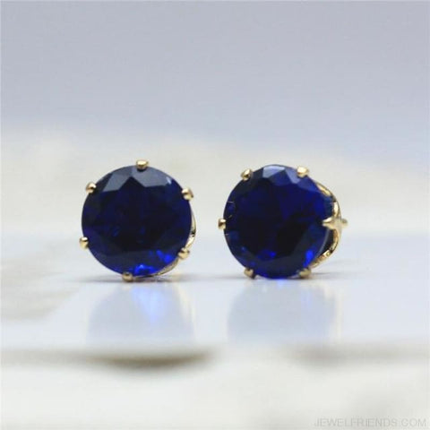 Cubic Zirconia 8Mm Stud Earrings - Gold Blue - Custom Made | Free Shipping