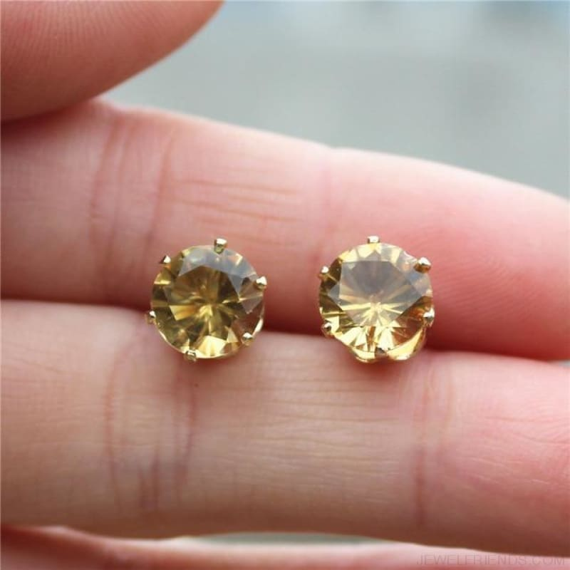 Cubic Zirconia 8Mm Stud Earrings - Gold Champagne - Custom Made | Free Shipping