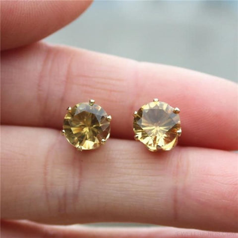 Image of Cubic Zirconia 8Mm Stud Earrings - Gold Champagne - Custom Made | Free Shipping