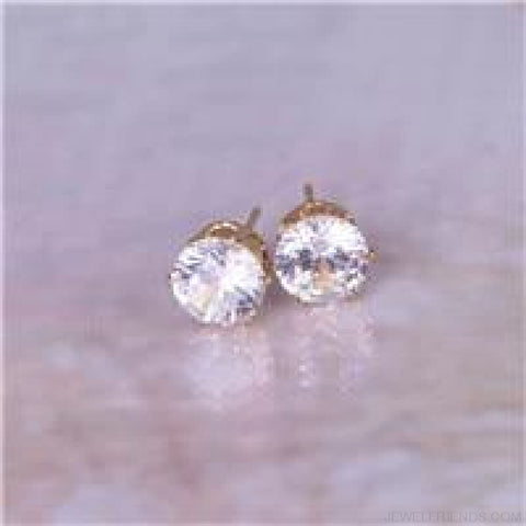 Cubic Zirconia 8Mm Stud Earrings - Gold Clear - Custom Made | Free Shipping
