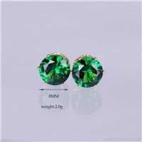 Image of Cubic Zirconia 8Mm Stud Earrings - Gold Green - Custom Made | Free Shipping