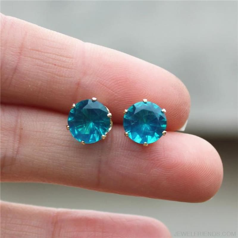 Cubic Zirconia 8Mm Stud Earrings - Gold Hole Blue - Custom Made | Free Shipping