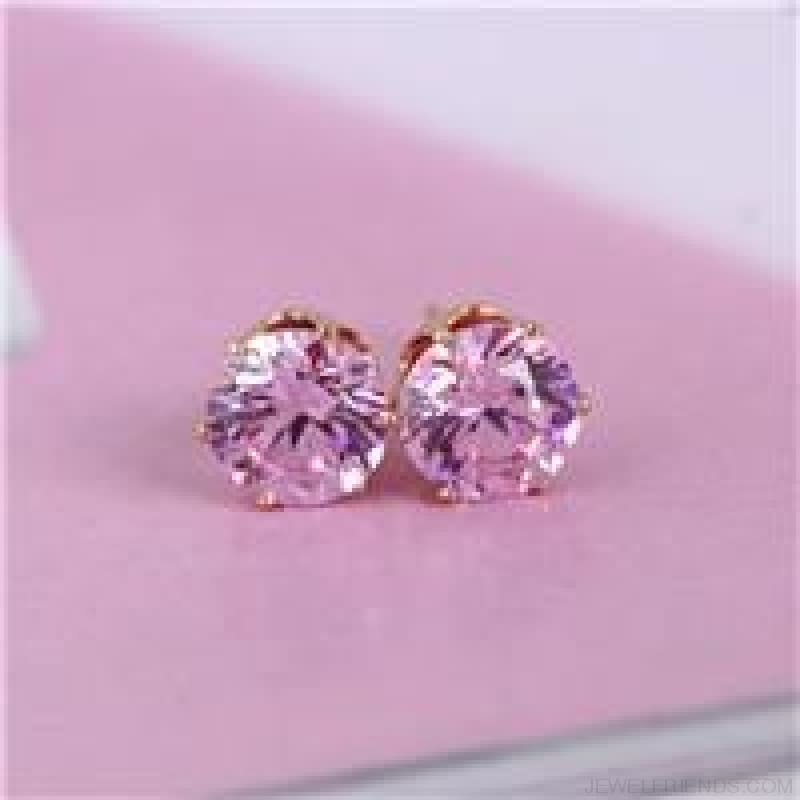 Cubic Zirconia 8Mm Stud Earrings - Gold Pink - Custom Made | Free Shipping