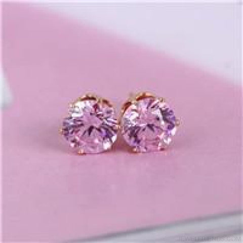 Image of Cubic Zirconia 8Mm Stud Earrings - Gold Pink - Custom Made | Free Shipping