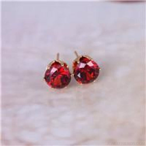 Image of Cubic Zirconia 8Mm Stud Earrings - Gold Red - Custom Made | Free Shipping
