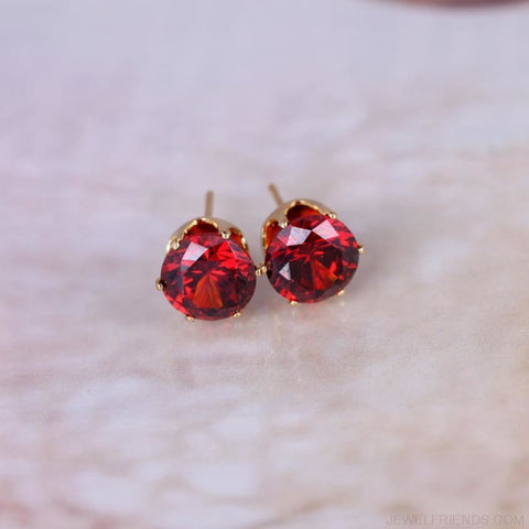 Image of Cubic Zirconia 8Mm Stud Earrings - Custom Made | Free Shipping