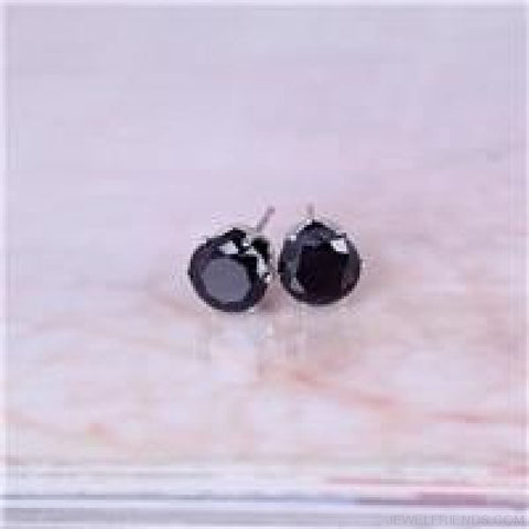 Cubic Zirconia 8Mm Stud Earrings - Silver Black - Custom Made | Free Shipping